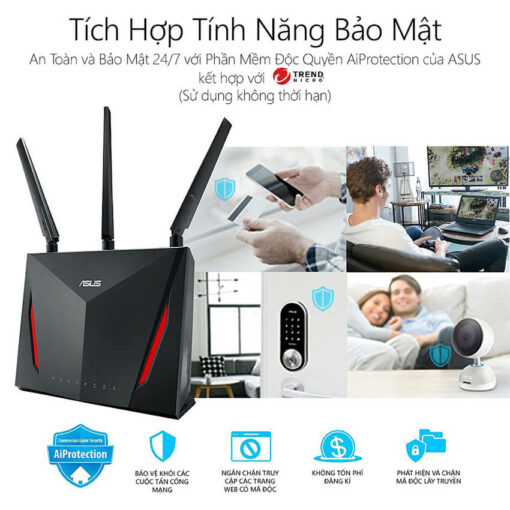 ASUS RT-AC86U (Gaming Router) Wifi AC2900 2 băng tần, AiMesh 360 WIFI Mesh, WTFast, AiProtection, chipset Broadcom USB 3.0 7