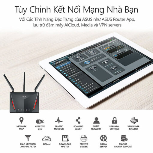 ASUS RT-AC86U (Gaming Router) Wifi AC2900 2 băng tần, AiMesh 360 WIFI Mesh, WTFast, AiProtection, chipset Broadcom USB 3.0 6